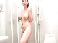 Russian Amateur with Big Boobs and Hairy Pussy Washes Her Cunt In a Shower