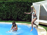 Lesbian fun at the pool